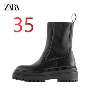 ZARA - 【35】ZARA トラックソール アンクルブーツ レザー ブラック
