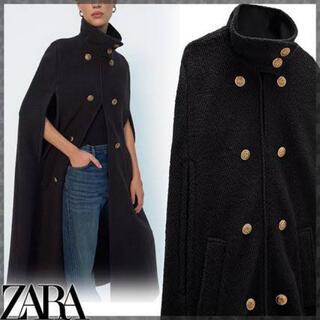 ZARA - 新品タグ付き ZARA ザラ ウール混ケープ ボタン付き バックル付きケープ