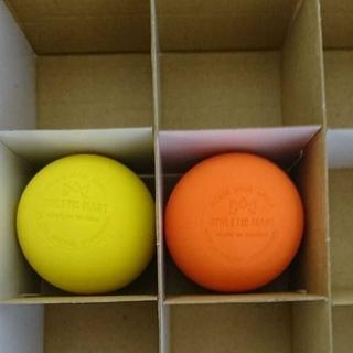 ラクロスボール ストレッチボール 2個(オレンジ、黄)(ヨガ)