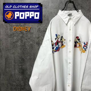Disney - ディズニー☆ミッキーファミリーキャラプリントホワイトシャツ 90s
