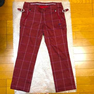 PEARLY GATES - 美品MASTERBUNNYEDITIONロゴ刺繍ゴルフパンツサイズ2赤レディース