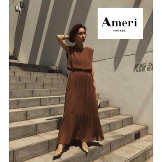 Ameri VINTAGE - 完売商品【AMERI】PLEATS STITCH DRESS ブラウン