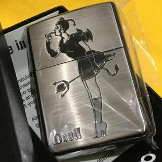 ジッポー(ZIPPO)のZIPPO 希少 ウィンディ 悪魔 両面仕様 SIL×BK 新品極美品(タバコグッズ)