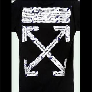 オフホワイト(OFF-WHITE)のoff-white airport tape over T-shirt 黒(Tシャツ/カットソー(半袖/袖なし))