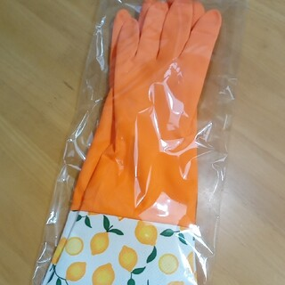 ゴム手袋 オレンジ レモン柄 Lサイズ(その他)