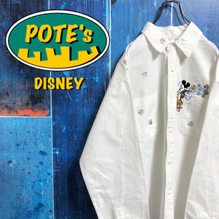 Disney - 【ディズニー】ミッキー・プルートウォッシュキャラ刺繍ダブルポケットシャツ 90s