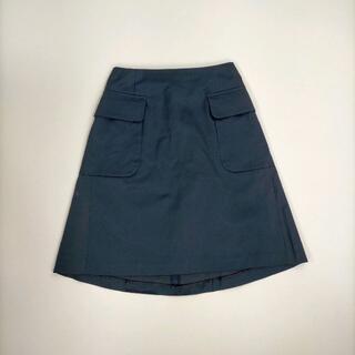 トゥモローランド(TOMORROWLAND)のトゥモローランド 38 スカート ネイビー 無地 ハイウエスト ポケット 紺(ミニスカート)