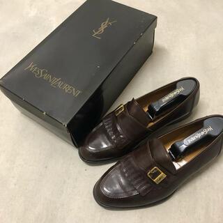 サンローラン(Saint Laurent)のイヴ・サンローラン ローファー 革靴 YSL レザーシューズ キャメル 24.5(ローファー/革靴)