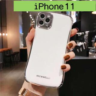 iPhone11 メッキ 白 ケース カバー バンパー 保護