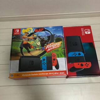 ニンテンドースイッチ(Nintendo Switch)の新型nintendo switch(ネオン、リングセット)計2台(家庭用ゲーム機本体)