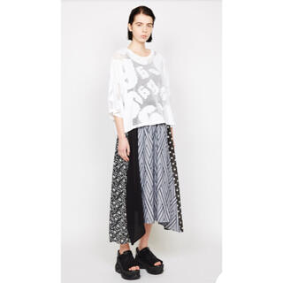 ゴム(gomme)のゴム gomme クワトロミックスウェイブスカート 黒×白(ロングスカート)