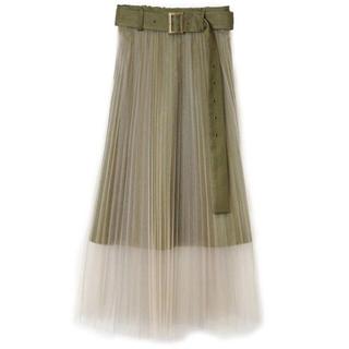 レディアゼル(REDYAZEL)の【新品】REDYAZEL ベルト付きチュールプリーツスカート(ロングスカート)
