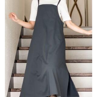 b2c Wストラップ エプロン ドレス 黒 Lサイズ(その他)