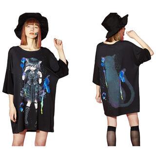 アンコロック(ankoROCK)の◇ankoROCK◇ 前後アニマルトモダチ『黒ネコ』ビッグサイズTシャツ(Tシャツ(半袖/袖なし))