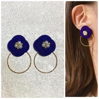 2way菜の花紫❁×ゴールドリング(ピアス)