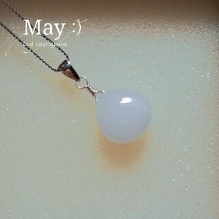 天然石ネックレスホワイトジェイドシルバー925(ネックレス)