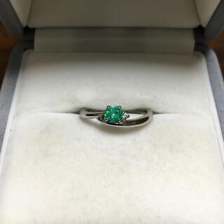 ダイヤモンド×グリーントルマリン リング Pt900 0.21ct 3.2g
