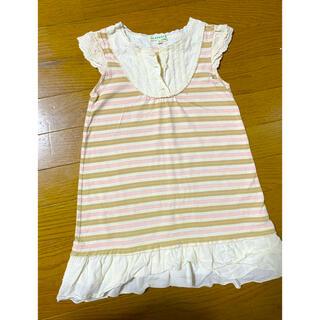 サンカンシオン(3can4on)の子供服☆ボーダーフリルワンピース120サイズ☆(ワンピース)