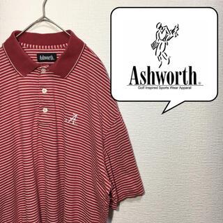アシュワース(Ashworth)のアッシュワース Ashworth ポロシャツ M 赤 輸入古着 ボーダー(ポロシャツ)