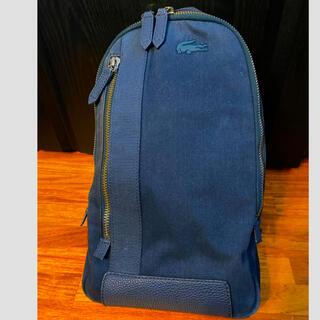 ラコステ(LACOSTE)のラコステLACOSTEリュック鞄バック1212ネイビー革ロゴ レザー(バッグパック/リュック)