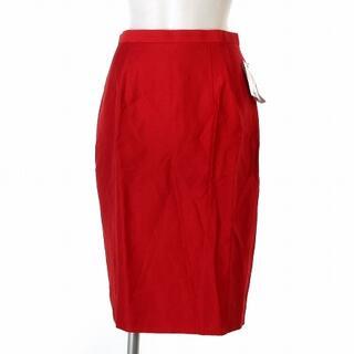 ケンゾー(KENZO)のケンゾー KENZO タグ付き スカート 膝丈 タイト シルク混 赤 レッド 3(ひざ丈スカート)