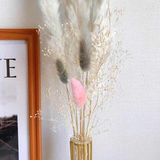 大人気! パンパスグラス テールリード すすき 韓国インテリア ゴールド ハンドメイドのフラワー/ガーデン(ドライフラワー)の商品写真
