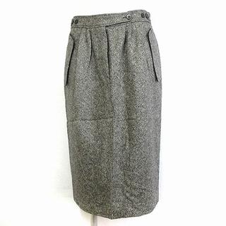 エルメス(Hermes)のエルメス HERMES タグ付き スカート 膝丈 タイト タック ツイード カシ(ひざ丈スカート)