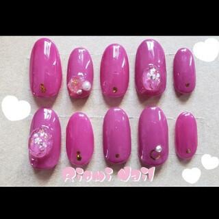 ネイルチップ ローズピンク ピンク オーバル 休日ネイル キラキラ 大人女子(つけ爪/ネイルチップ)