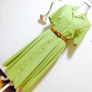 グリモワール(Grimoire)のヴィンテージ ワンピース 黄緑 ウグイス グリーン 金ボタン レトロ クラシカル(ひざ丈ワンピース)