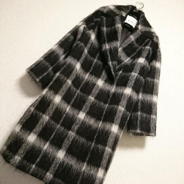 ANAYI(アナイ)の定価96,800円⭐ANAYI アナイ⭐シャギーチェックセミダブルコート レディースのジャケット/アウター(ロングコート)の商品写真