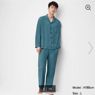 ジーユー(GU)の新品未使用 新作GU レーヨンパジャマ メンズ L 長袖 ブルー BLUE 青(その他)