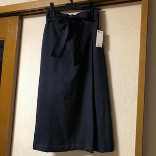 ジーユー(GU)のGU ジーユー ウエストリボン ラップミディスカート スカート 新品 Lサイズ(ロングスカート)