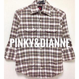 ピンキーアンドダイアン(Pinky&Dianne)のPINKY&DIANNE【美品】チェック柄 五分袖 襟シャツ ブラウス(シャツ/ブラウス(長袖/七分))