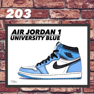 AIR JORDAN 1 UNC コミックシューズポスター 額付き 1枚(スニーカー)