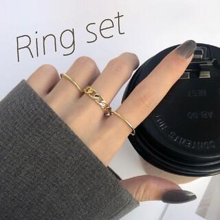 ケービーエフ(KBF)のꫛꫀꪝ◆インポート◆限定3◆チェーン×シンプルラインリング3点セット(リング(指輪))