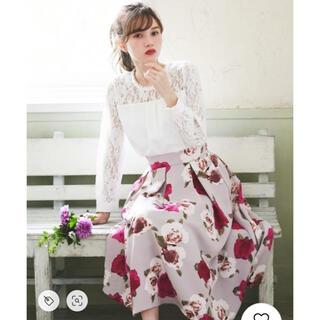 グレイル(GRL)のGRL グログラン花柄フレアスカート(ひざ丈スカート)