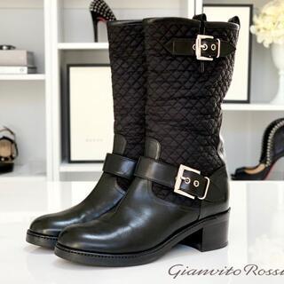 ジャンヴィットロッシ(Gianvito Rossi)の2356 美品 ジャンヴィットロッシ ナイロン&レザー エンジニアブーツ ブラッ(ブーツ)