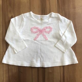 ケイトスペードニューヨーク(kate spade new york)のKate spade ケイトスペード 白 長袖 Tシャツ リボン フリル 80(Tシャツ)
