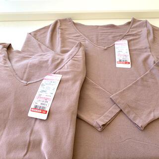 シマムラ(しまむら)のレディース8分袖Vネック保湿インナーシャツ Lサイズ 2枚セット 新品(アンダーシャツ/防寒インナー)