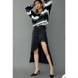 ジェイダ(GYDA)のGYDA ジェイダ アシメ ロングスカートライクショートパンツ クラッシュデニム(ロングスカート)
