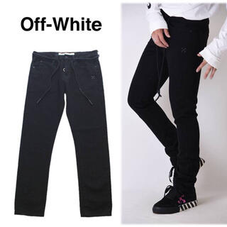 オフホワイト(OFF-WHITE)の《OFF-WHITE》新品 イタリア製 スリムデニムパンツ 黒 34(W92)(デニム/ジーンズ)