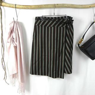 ケンゾー(KENZO)のケンゾー マルチストライプラップスカート 巻きスカート 革紐ベルト付 膝丈 38(ひざ丈スカート)