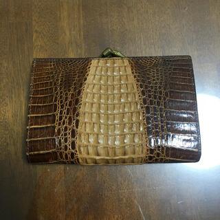 クロコダイル(Crocodile)のGenuine Crocodile Skin クロコダイル がま口 折財布(折り財布)