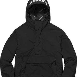 シュプリーム(Supreme)のsupreme hooded logo half zip pullover  黒(マウンテンパーカー)
