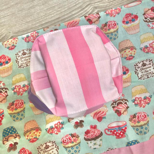 給食袋 ランチョンマット カップケーキ ミントグリーン 紫 女の子 ピンク ハンドメイドのキッズ/ベビー(外出用品)の商品写真