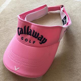 キャロウェイ(Callaway)のCallaway ゴルフ メンズ ピンク×ホワイト サンバイザー フリーサイズ (サンバイザー)