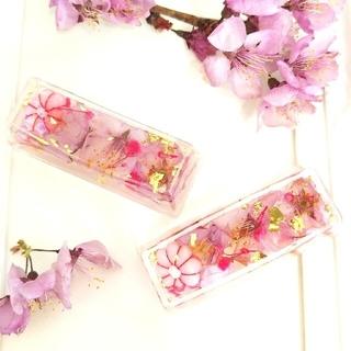 【専用ページ】 桜の固まるハーバリウム箸置き2個&ピンク系ペン立て(ドライフラワー)