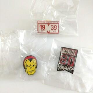 マーベル(MARVEL)のマーベル 80周年 記念 ピンバッジ 3点セット アイアンマン など(バッジ/ピンバッジ)
