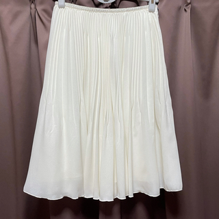 クミキョク(kumikyoku(組曲))の新品 KUMIKYOKU 組曲 プリーツスカート 日本製 ホワイト1(ひざ丈スカート)