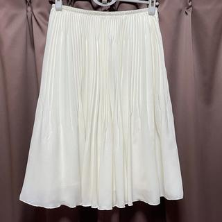 クミキョク(kumikyoku(組曲))の新品 KUMIKYOKU 組曲 プリーツスカート 日本製 ホワイト2(ひざ丈スカート)